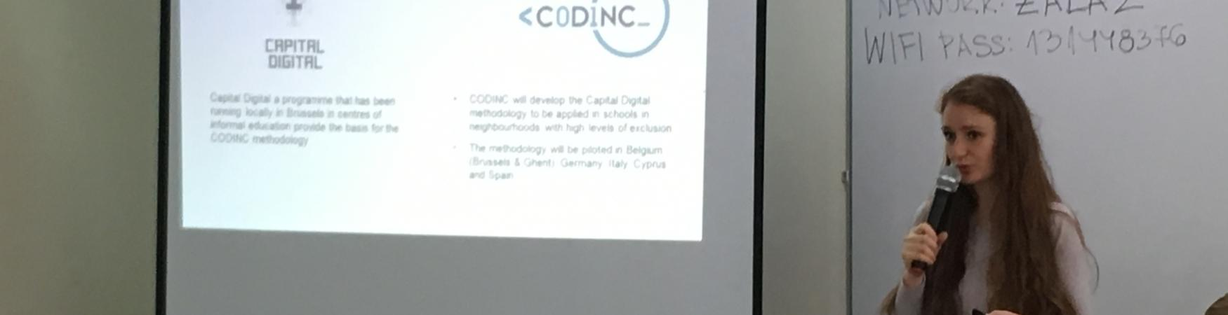 Gabriela Ruseva presenting the #CodincEU and Capital Digital projects at the ET2020 working group